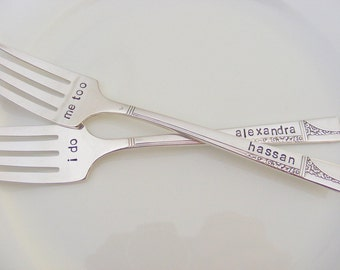 Wedding Forks I do Me too Wedding cake Forks With Names