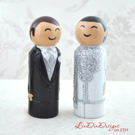 Kokeshi doll style wedding toppers handmade on etsy