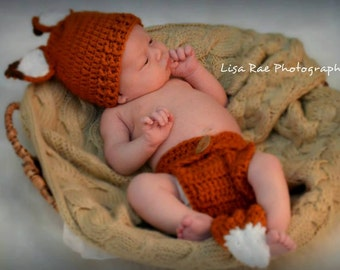 Fox Hat Diaper Cover Set Handmade Crochet Newborn Baby Photo Props