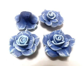 4 Fimo Polymer Clay Blue White Flower Large Rose Fimo Beads 40mm