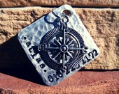 The Atlas (#075) - Distressed Hammered Silver Pet ID Tag Dog Tags Pet Tags Extra Large Dogs