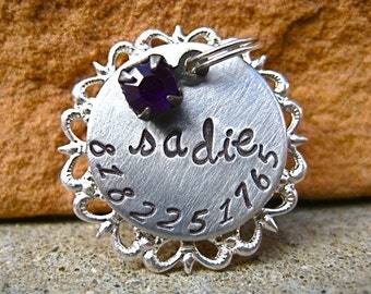 The Sadie (#059) - Filigree Handstamped Pet ID Tag Unique Dog Cat