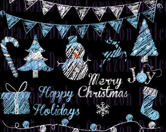 Chalkboard Blue Christmas images - Personal and Commercial Use Clip Art- INSTANT DOWNLOAD