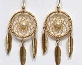 Gold Dreamcatcher Earrings with feathers, gemstone pearl, turquoise, quartz, jasper, lapis, amethyst, garnet, malachite, dream catcher