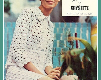 PDF Crochet Pattern for Groovy 1960's Suit Modelled by Twiggy  - Retro Chic - Instant Download