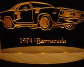 "1974 Plymouth Barracuda Cuda Acrylic Lighted Edge Lit LED  Sign 13"" Full Size USA Original"