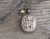 The Great White Elephant Genuine Carved Stone Ganesh Elephant Buddha Amulet Talisman with Vintage Brass Bell Necklace