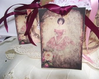 Ballerina Tags  With  Burgundy   Ribbon  Tie  Pastel Pink  French Shabby Chic Style