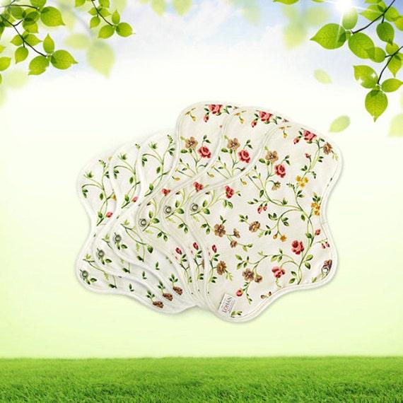 Organic Cotton Reusable Cloth Menstrual Pads - 3 Mini & 3 Regular pads (Erin flower)