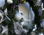 Gorgeous 19 inch Silver Sparkle Christmas Wreath - Holiday Wreath - Door Decoration - Xmas - ready to ship - non-traditional