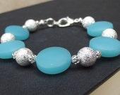 Blue Opal & Silver Bracelet:  Sea Glass Beach Jewelry, Ocean Resort Wear Accessory