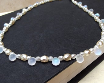 Bridal Pearl Necklace:  Frosted Glass Teardrops, White Creme Ivory Beaded Wedding Jewelry, Sterling Silver