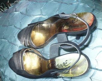 1950s VINTAGE Black Gold trim Open toe Slingback Cocktail old hollywood glam shoes by KitKatCabaret on Etsy
