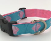Dog Collar - Turquoise Blue and Pink Seashell Beach