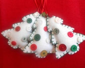 Small white felt and button Christmas tree ornaments
