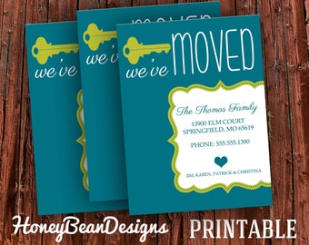 We've Moved New Address Announcement Card Custom Colors and Fonts