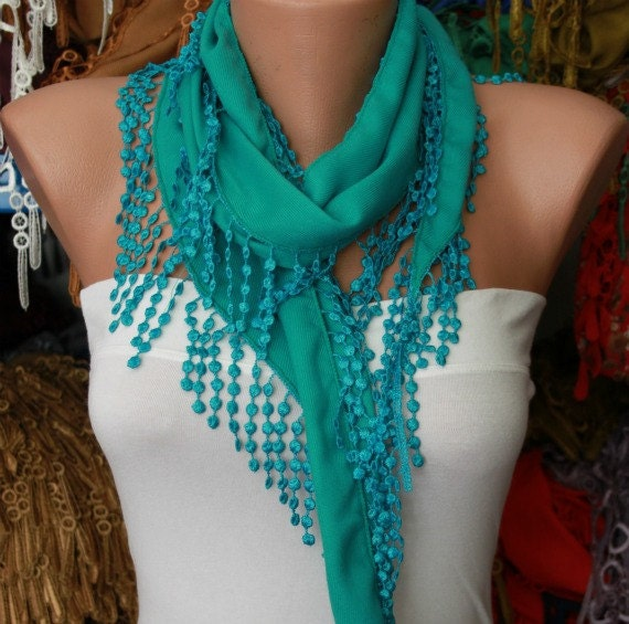 ON SALE - Teal Scarf - Pashmina Scarf - Cowl Scarf with Lace Edge