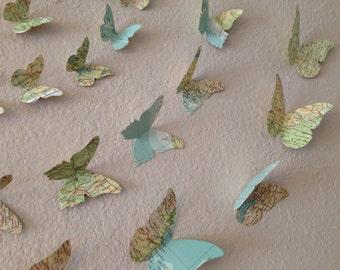 3D Butterfly Atlas And Map Wall Art.