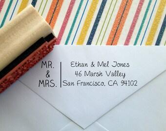 Modern Mr & Mrs Return Address Stamp