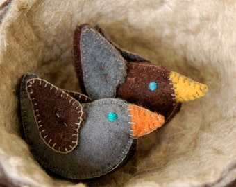 Grey Brown and Black FELT Love Birds -- Pure Wool Handmade Felt -- Unique Small Toys