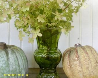 Vintage Avacado Green Glass Embossed Floral Vase