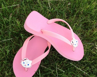 Pink  Wedged Flip Flops w/Hello Kitty Rhinestone Slider