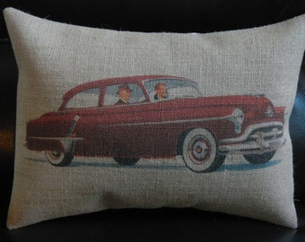 Vintage Car Burlap Pillow Vintage red automobile, Car Lovers, INSERT INCLUDED