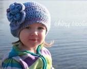Crochet Beret Pattern: 'Raspberry Beret', Crochet Hat, Crochet Flower, Toddler, Child & Adult