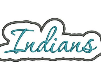 Indians Applique Script