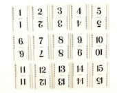 Vintage Number Cards / Table Number Cards with Art Deco Border (1-15) - Perfect for Seating Numbers, DIY Wedding, Parties, Collage