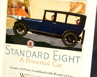 Vintage Blue Standard Eight Antique Car Original Print Ad, Period Paper (1919) - Automobile Collectible, Ephemera