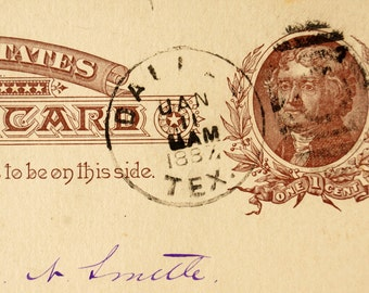 Vintage / Antique Post Card to Chas. N. Smith, Grand Lodge of Texas Freemason Dues (January 5, 1887) - Collectible, Paper Ephemera