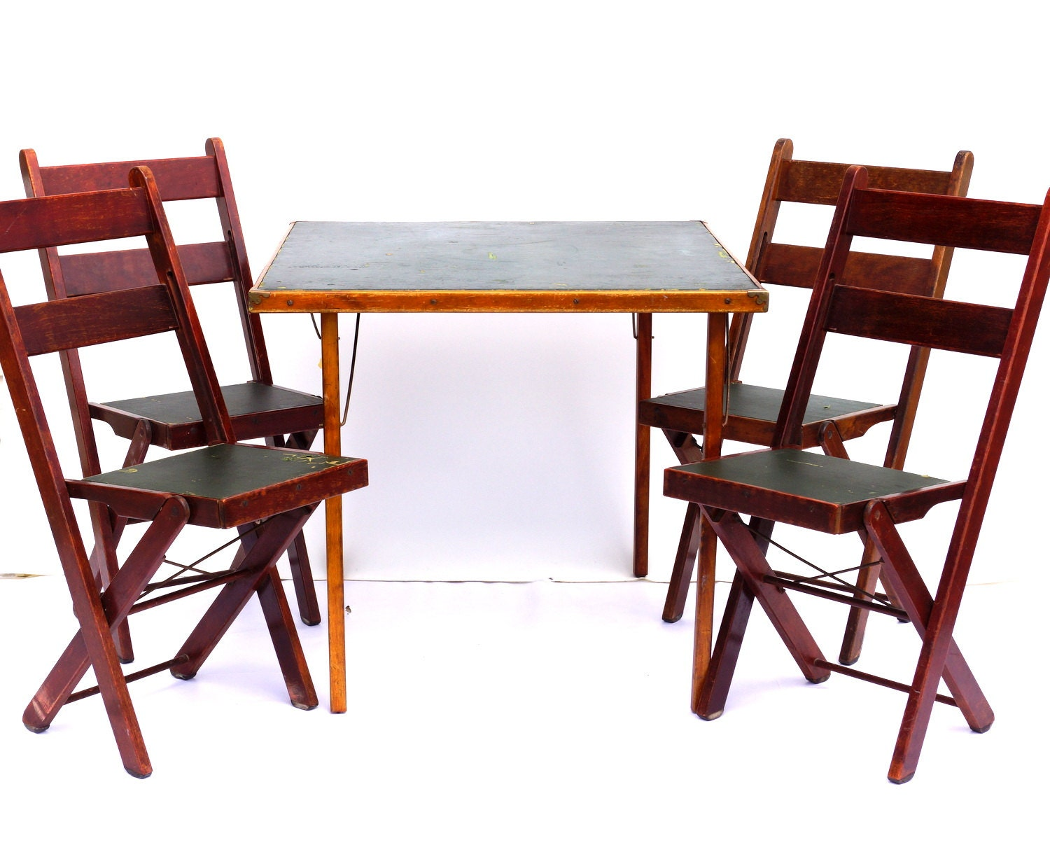 Vintage Antique Wood Folding Table And Chairs With Green
