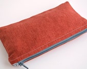 Red Zippered Pouch - Makeup Bag - Cosmetic Pouch - Handmade Farbric Zip Case