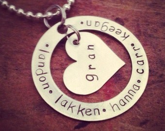 personalized washer/heart necklace