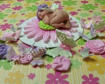 Pink Baby Butterfly/Edible Cake Topper made of Vanilla Fondant and Gumpaste/BABY SHOWER/First Birthday/Christening/Baby Announcement Cake