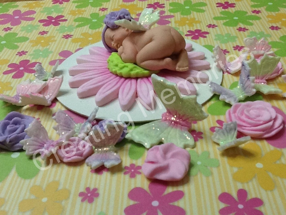 Butterfly Cake Toppers Baby Shower : Pink Baby Butterfly/Edible Cake Topper made of Vanilla Fondant