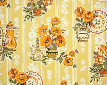 Retro Wallpaper by the Yard 70s Vintage Wallpaper - 1970s Orange and Yellow Kitchen Floral with Poppies Vases and Dishes