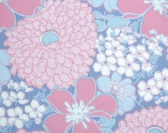 Retro Wallpaper by the Yard 70s Vintage Wallpaper - 1970s Pink and Periwinkle Blue Floral with Large Flowers