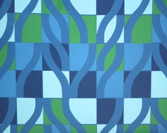 Retro Wallpaper by the Yard 70s Vintage Wallpaper - 1970s Green and Blue Geometric