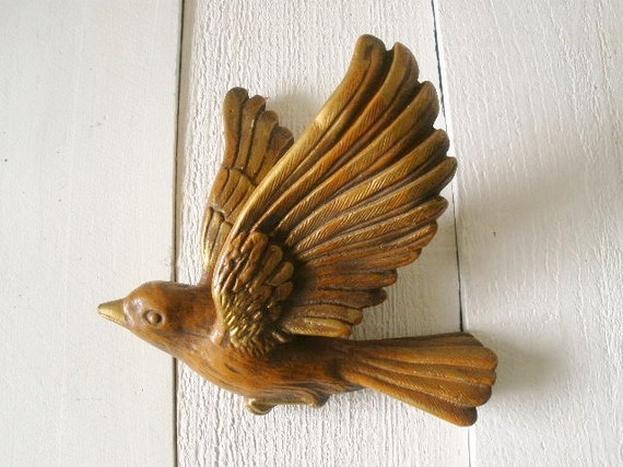 Vintage Flying Bird Wall Hanging Ceramic Brown Gold Accents