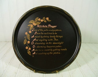 Vintage Kitchen Prayer Hand Painted in Gold Over Black Enamel Metal Tray - Retro Round Tin Plate with Pink Florals - Mid Century Wall Decor