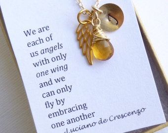 Angel Wing Gold Filled Necklace with Gift Message... Friendship -- Bridesmaids -- Maid of Honor Personalized Initial