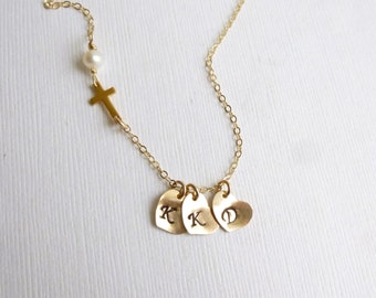 Gold Sideways Cross Initial Necklace  -- Personalized Up to 3 Initials -- 14k gold filled -- Mothers -- Sisters