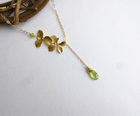Gold Orchid and Birthstone Lariat Necklace -- Gold Filled Chain -- Choose Your Stone Peridot Shown -- Bridesmaids
