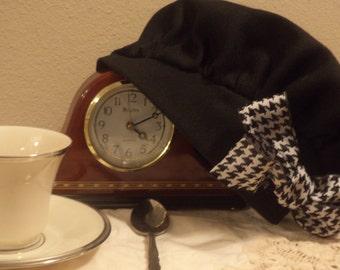 Winter Beret Winter Hat Black Hat Houndstooth Bow