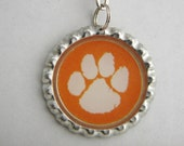 Clemson Paw Bottle Cap Keychain or Necklace Made with Resin