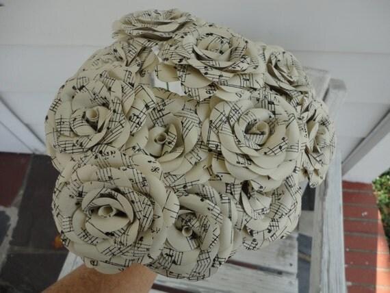 Dozen sheet music roses paper flower ivory for Paper roses sheet music free