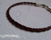 Brown Braided Leather Bracelet Mens Stacking Leather Bracelet Unisex Leather Bracelet Made in USA by Taylor's Temptations