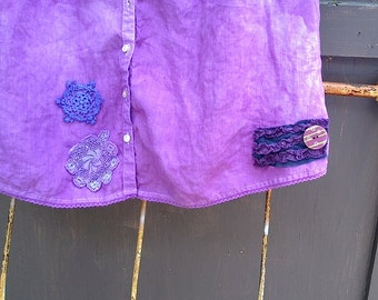 radiant orchid violet lavender purple CUSTOM EXAMPLE hand dyed upcycled vintage laces embellished altered eco tunic shirt